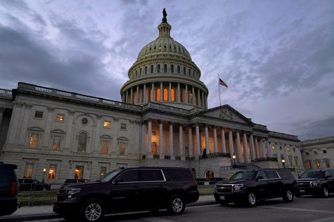Bên ngoài Bộ Tài chính Mỹ ở thủ đô Washington D.C, Mỹ